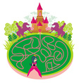 Funny maze game - princess looking for a way to vector