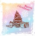 Christmas vintage fir tree vector