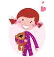 Happy girl hugging teddy bear vector