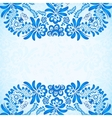 Blue greeting card template with floral pattern in vector