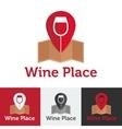 Flat wine shop or bar logo set vector