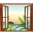 A window overlooking the view of nature vector
