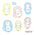 Set of cute sketch angels vector