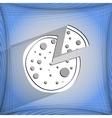 Pizza flat modern web button on a flat geometric vector