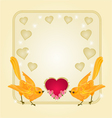 Valentines frame heart and gold birds vector