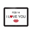 I love you and mouth tablet with heart design vector