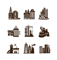 City building icons set vector