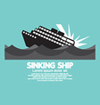 Sinking ship black graphic vector