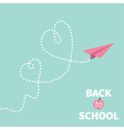 Back to school origami paper plane two dash heart vector