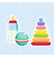 Baby bottle ball and pyramid stickers vector
