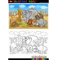 Safari wild animals cartoon for coloring book vector