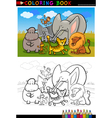 African wild animals cartoon for coloring book vector
