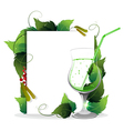 Green cocktail with leaves vector