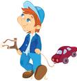 Naughty boy and toy car cartoon vector