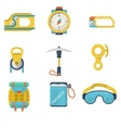 Flat color icons for mountaineering vector
