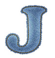 Jeans alphabet denim letter j vector