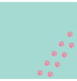 Paw print track in the corner blue and pink vector