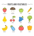 Set of fruits and vegetables isolated on white vector