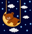 Baby bear cartoon sleeping on the moon vector