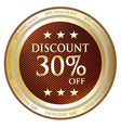 Thirty percent discount gold label vector