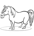 Coloring page of funny farm pony horse vector