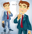 Cute businessman asked to be quiet vector