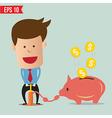 Cartoon business man pump money - - eps10 vector