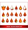 Creative medic blood drops symbols set vector