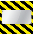 Metal frame on warning stripe background vector