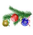 Christmas tree branch with christmas balls vector