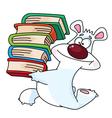 Polar bear and books vector
