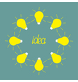 Yellow light bulb round frame idea concept flat de vector