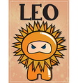 Zodiac sign leo with cute black ninja character vector