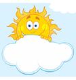 Happy sun hiding behind cloud vector