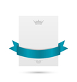 Celebration card with blue ribbon isolated on vector