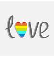 Word love with rainbow heart flat design vector