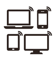 Laptop mobile phone tablet and monitor vector