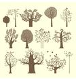 Brown trees set vector