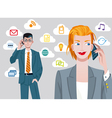Caucasian businesswoman and businessman talking on vector
