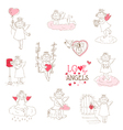 Set of cute angels and cupids - love wedding valen vector