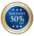 Fifty percent discount blue label vector