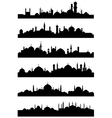Islamic or arabic cityscape black silhouettes vector