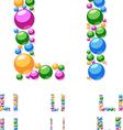 Alphabet symbols of colorful bubbles or balls vector