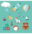 Toys colorful set modern flat style vector