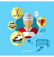 Hockey player man icon flat vector