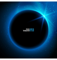 Eclipse planet in space in blue rays of light vector