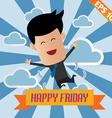Cartoon businessman happy friday - - eps10 vector
