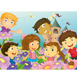 Children and flowers vector