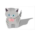 Little kitten on white background vector