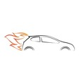 Silhouette of car with fire vector